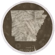 Arkansas Map Music Notes 3 Round Beach Towel