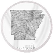 Arkansas Map Music Notes Round Beach Towel