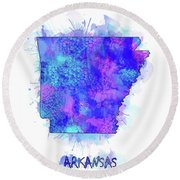 Arkansas Map Watercolor 2 Round Beach Towel