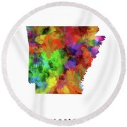Arkansas Map Watercolor Round Beach Towel