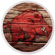Arkansas Razorbacks 1a Round Beach Towel by Brian Reaves