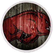 Arkansas Razorbacks 2b Round Beach Towel by Brian Reaves