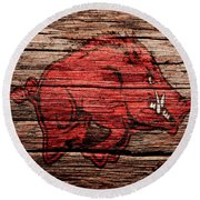 Arkansas Razorbacks Round Beach Towel by Brian Reaves