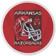 Arkansas Razorbacks Round Beach Towel