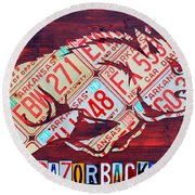 Arkansas Razorbacks Recycled Vintage License Plate Art Sports Team Logo Round Beach Towel