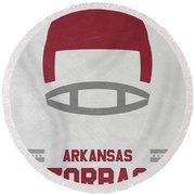 Arkansas Razorbacks Vintage Football Art Round Beach Towel