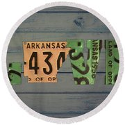 Arkansas State Love Heart License Plates Art Phrase Round Beach Towel