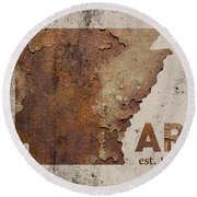 Arkansas State Map Industrial Rusted Metal On Cement Wall With Founding Date Series 034 Round Beach Towel