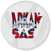 Arkansas Typographic Map Flag Round Beach Towel