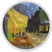 Arles Cafe Terrace At Night Round Beach Towel