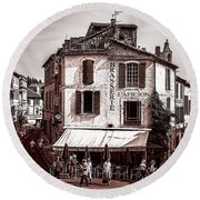 Arles, France, In Sepia Round Beach Towel