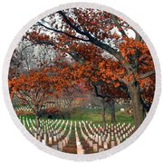 Arlington Cemetery In Fall Round Beach Towel