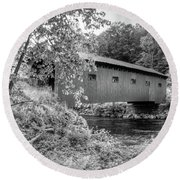 Round Beach Towel featuring the photograph Arlington Green Covered Bridge by Guy Whiteley