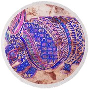 Round Beach Towel featuring the painting Armadillo by J- J- Espinoza