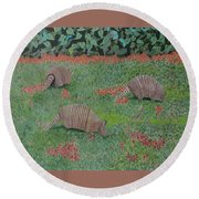 Armadillos In The Yard Round Beach Towel by Hilda and Jose Garrancho