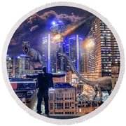 Round Beach Towel featuring the photograph Armageddon Detroit by Nicholas Grunas