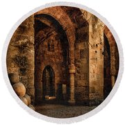Round Beach Towel featuring the photograph Rhodes, Greece - Armed Gate by Mark Forte