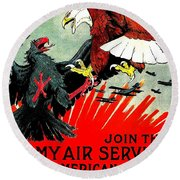 Army Air Service Recruitment Poster 1918 Round Beach Towel