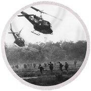 Army Airborne In Vietnam Round Beach Towel