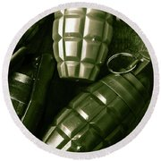 Army Green Grenades Round Beach Towel