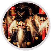 Army Of Wooden Soldiers Round Beach Towel