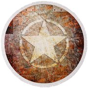 Army Star On Rust Round Beach Towel