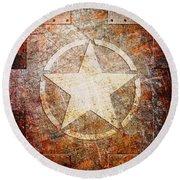 Army Star On Rust Round Beach Towel