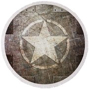 Army Star On Steel Round Beach Towel