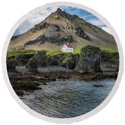 Arnarstapi House Round Beach Towel