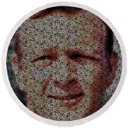 Round Beach Towel featuring the painting Arnold Palmer Win List Mosaic by Paul Van Scott
