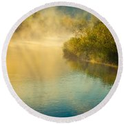 Round Beach Towel featuring the photograph Around The Bend by Don Schwartz