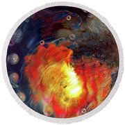 Round Beach Towel featuring the digital art Arrival by Linda Sannuti