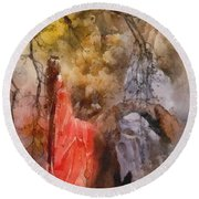 Round Beach Towel featuring the painting Arrival by Mo T