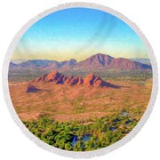 Arriving In Phoenix Digital Watercolor Round Beach Towel