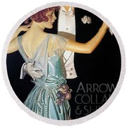 Arrow Shirt Collar Ad, 1923 Round Beach Towel