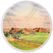 Round Beach Towel featuring the painting Arrowhead Golf Course Colorado Hole 3 by Bill Holkham