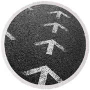 Arrows On Asphalt Round Beach Towel