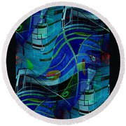 Round Beach Towel featuring the digital art Art Abstract With Culture by Sheila Mcdonald
