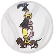 Art Deco  1920's Girls And Dogs Round Beach Towel by Nora Shepley