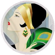 Roaring 20s Flapper Round Beach Towel