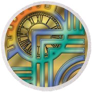 Round Beach Towel featuring the digital art Art Deco 24 by Chuck Staley