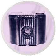 Art Deco Baby Brownie Purple Camera Round Beach Towel