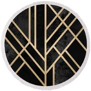 Art Deco Black Round Beach Towel