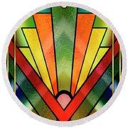Round Beach Towel featuring the digital art Art Deco Chevron 2 V by Chuck Staley