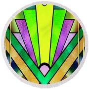Round Beach Towel featuring the digital art Art Deco Chevron 3 V by Chuck Staley