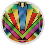 Art Deco Chevron 4 - Chuck Staley Round Beach Towel by Chuck Staley