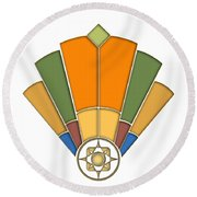 Art Deco Fan 8 Transparent Round Beach Towel