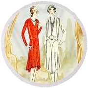 Art Deco Fashion Girls Round Beach Towel