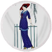 Art Deco Fashion Polka Dots Round Beach Towel