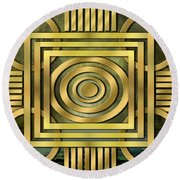 Art Deco Forest Round Beach Towel